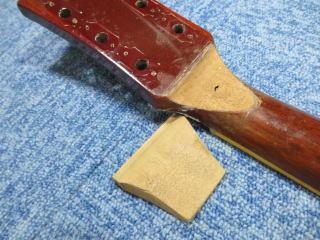 ギブソン、ネック折れ、補強、リペア、修理