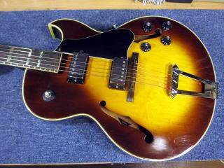 Gibson ES-175、修理、リペア、東京、杉並、ナインス、トップ落ち、アーチトップ